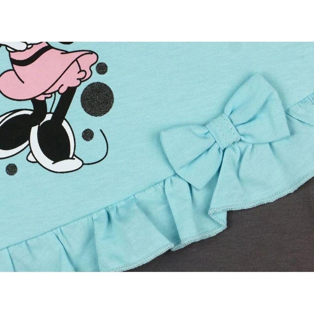 Minnie mintával nyomott, vállon és lábszárán patentos fodros napozó, masni közeli.