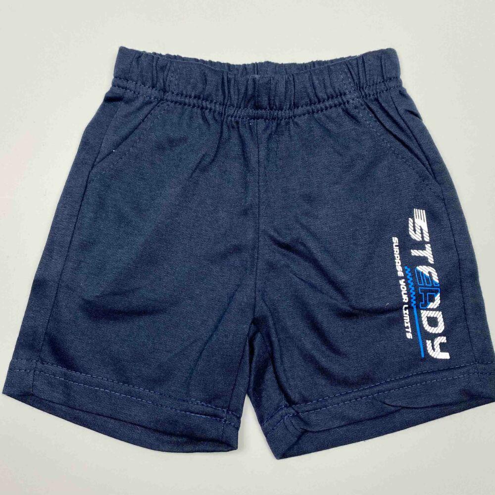 kisfiú két részes munkagépes nyári szett, felső részén egy markoló van, nadrágja zsebes, felíratos, dereka gumis.