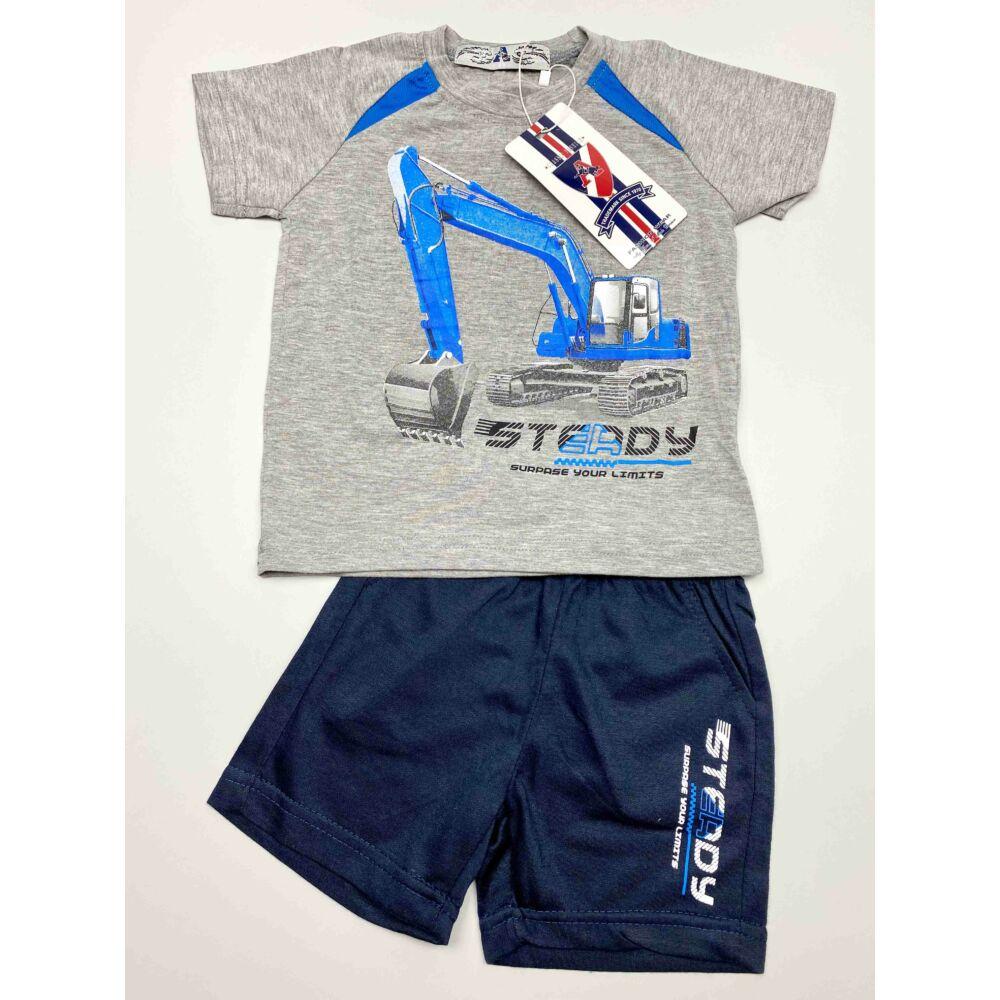 kisfiú szürke két részes munkagépes nyári szett, felső részén egy markoló van, nadrágja zsebes, felíratos