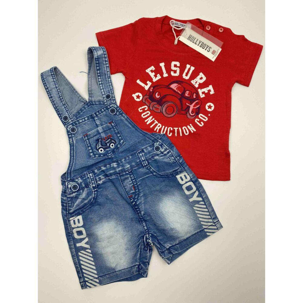 Kisfiú nyári két részes együttes, piros rovid ujjú póló autós mintával és kék farmer kantáros rövidnadrág, boy felírattal.