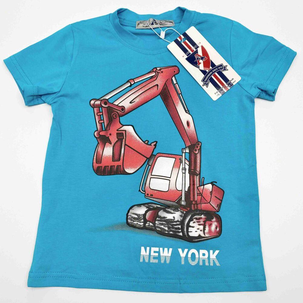 kék kisfiú munkagépes pamut rövid ujjú póló, filmnyomott markoló minta piros színű.