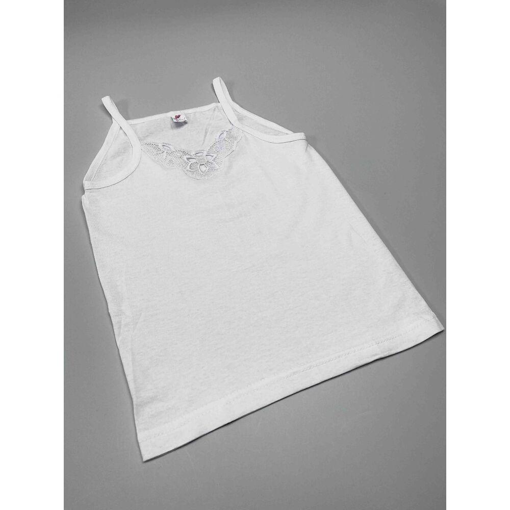 kislány pamut fehér színű spagetti pántos alsó trikó, elején hímzés berakással