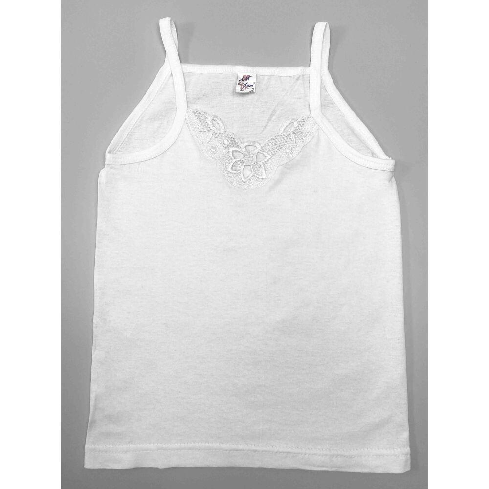 kislány pamut fehér színű spagetti pántos alsó trikó, elején hímzés berakással kör alakú