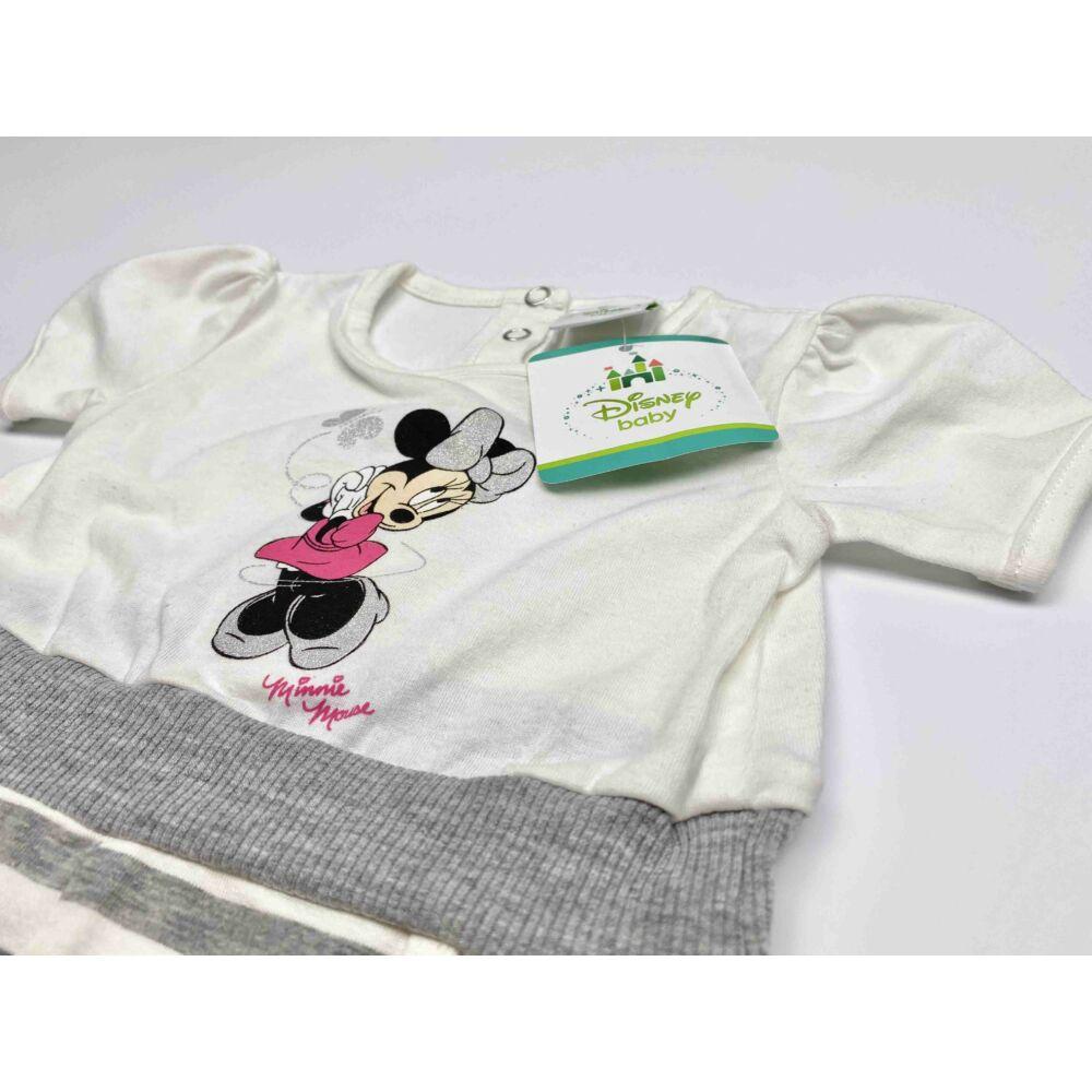 Disney Minnie kislány rövid ujjú pamut napozó, felső része fehér, alja szürke csíkos közeli kép felső részről.