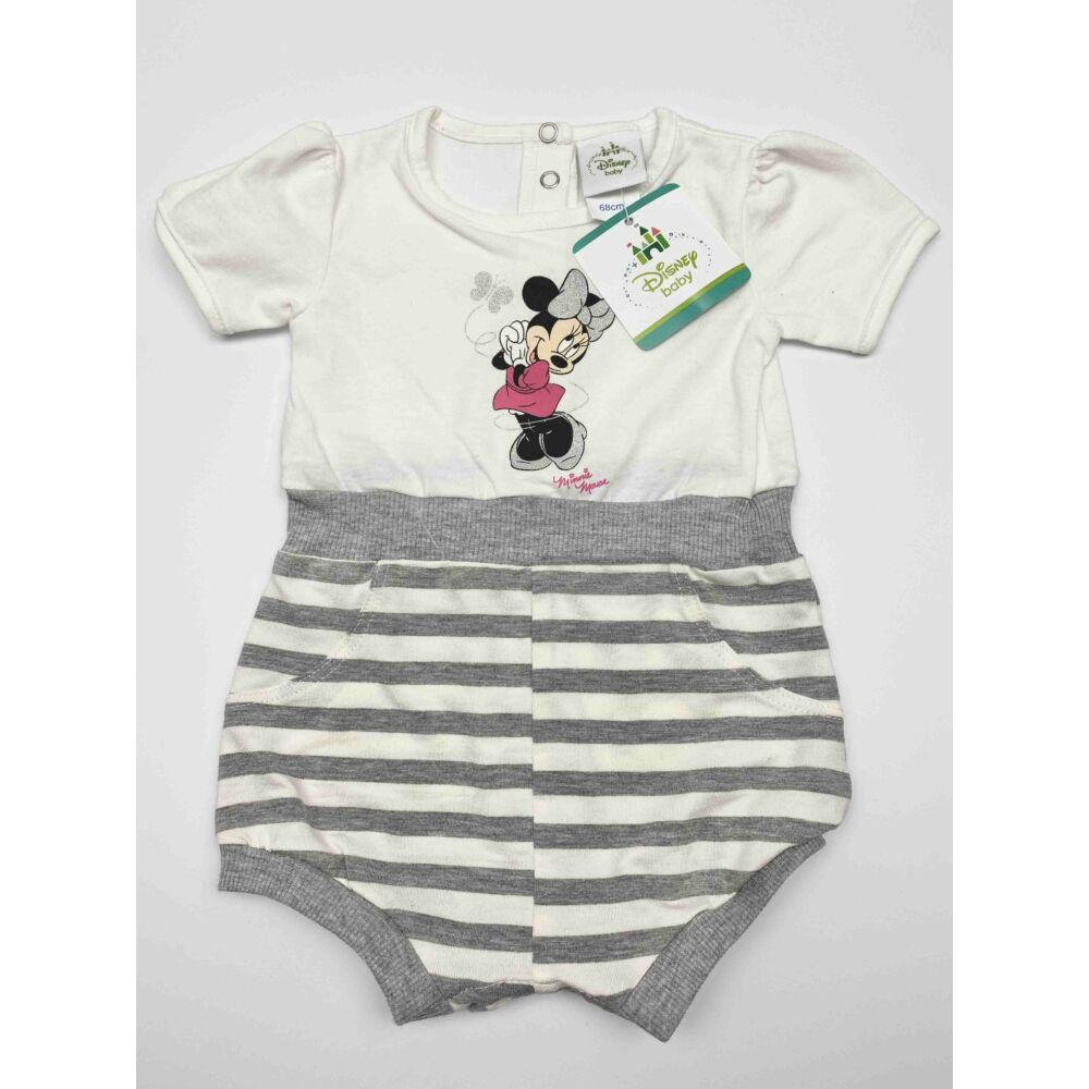 Disney Minnie kislány rövid ujjú pamut napozó, felső része fehér, alja szürke csíkos