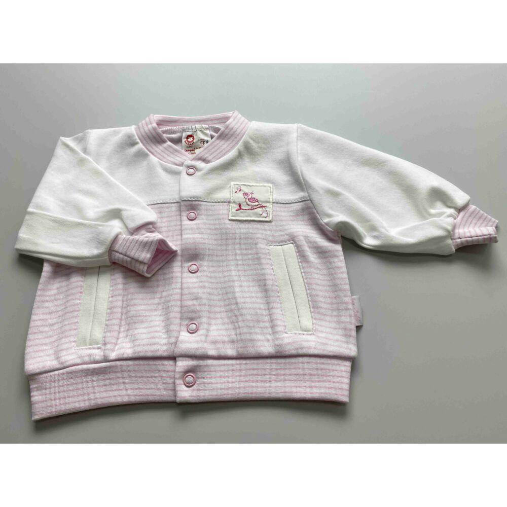 Kislány pamut kocsikabát, fehér színű rózsaszín csíkokkal, elején patentos.j