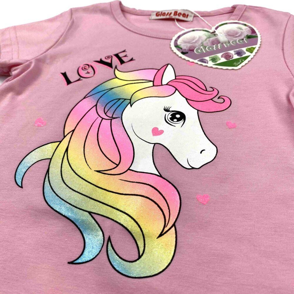 kislány két részes nyári szett, rózsaszín felső részén glitteres csillámpóni, a leggingen love felírat
