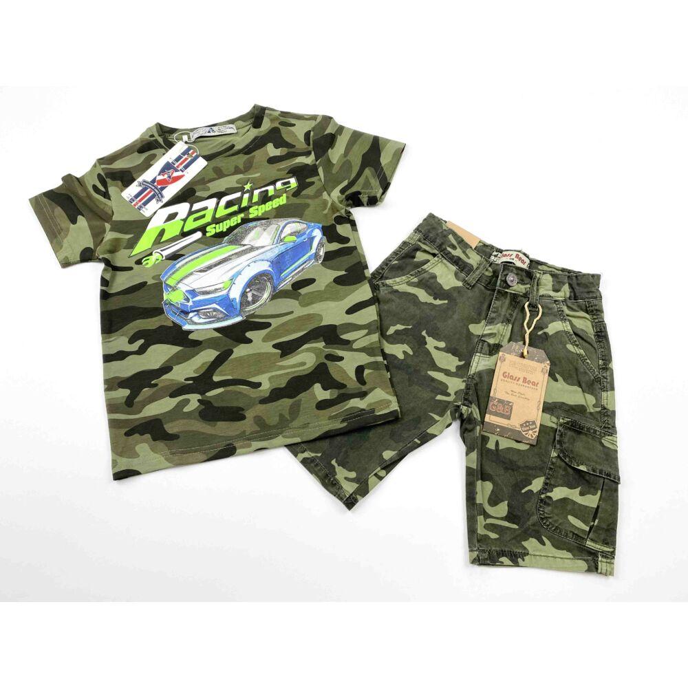 terepmintás kisfiú nyári rövid ujjú póló, elején kék autós filmnyomott mintával szett