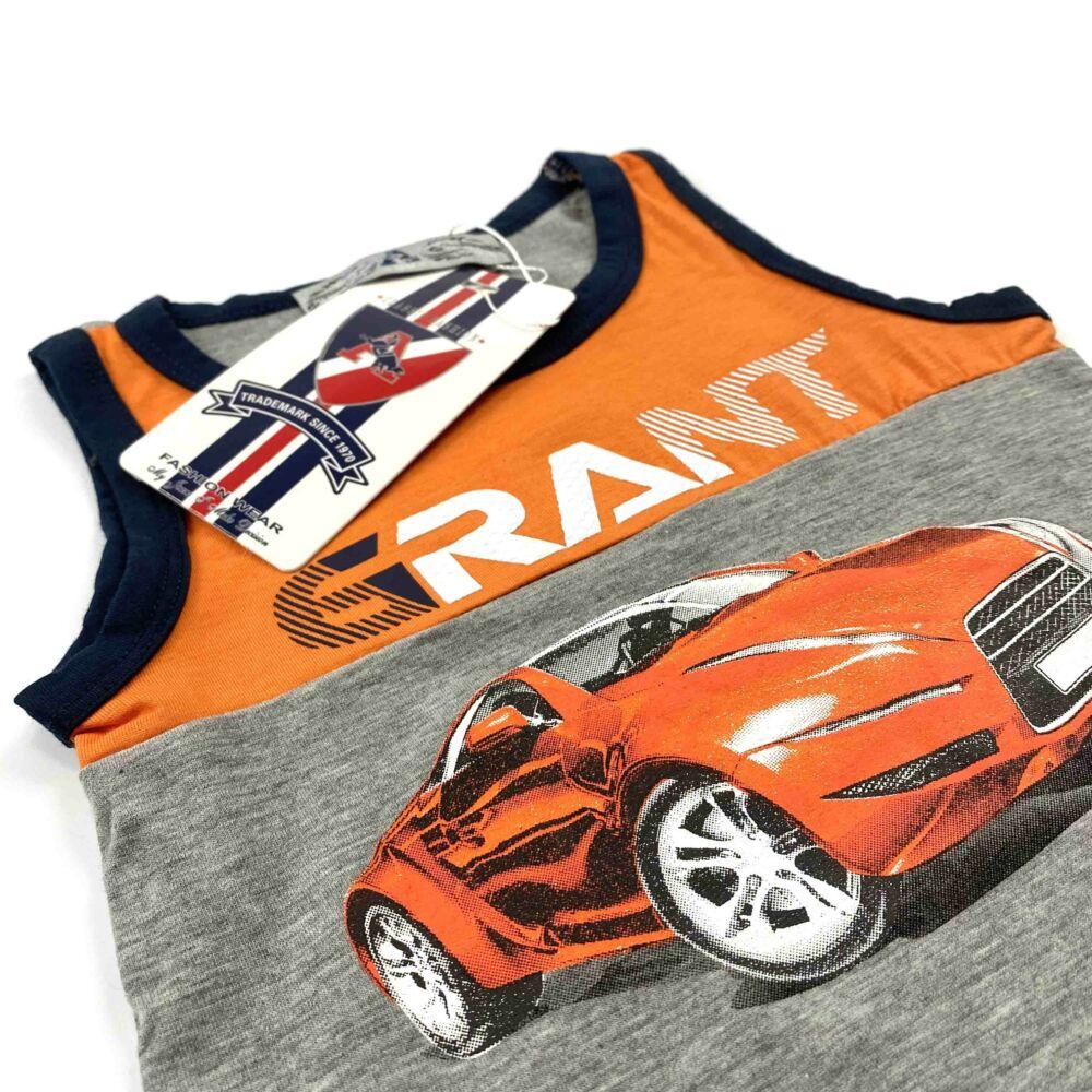 Két részes ujjatlan nyári kisfiú szabadidő szett, elején narancssárga sportautó és GRANT felírattal közeli