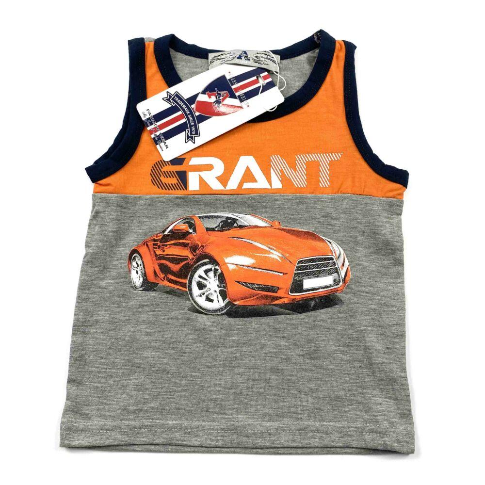 Két részes ujjatlan nyári kisfiú szabadidő szett, elején narancssárga sportautó és GRANT felírattal