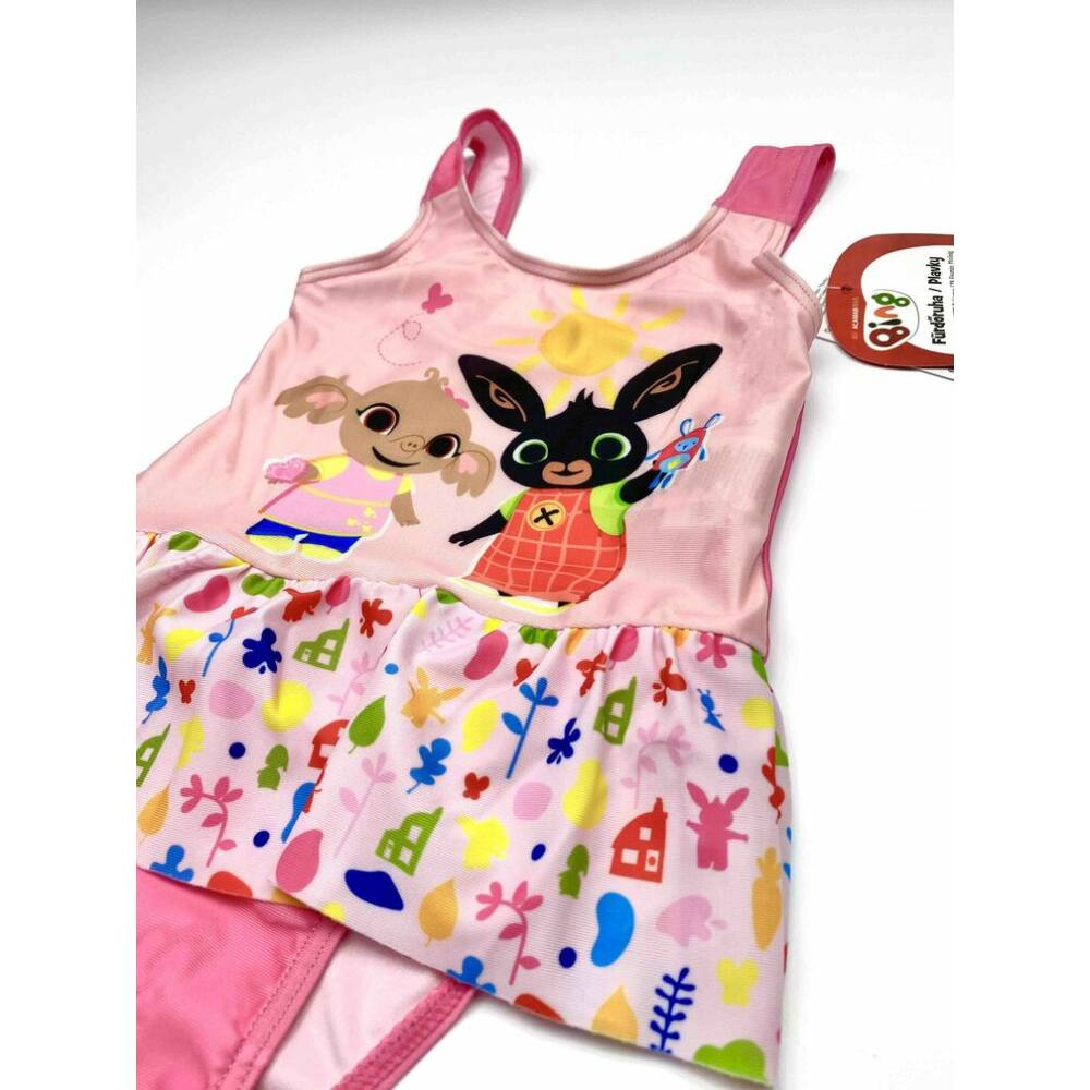 Kislány rózsaszín mesés Bing nyuszi és Sula mintás fürdőruha döntött kép