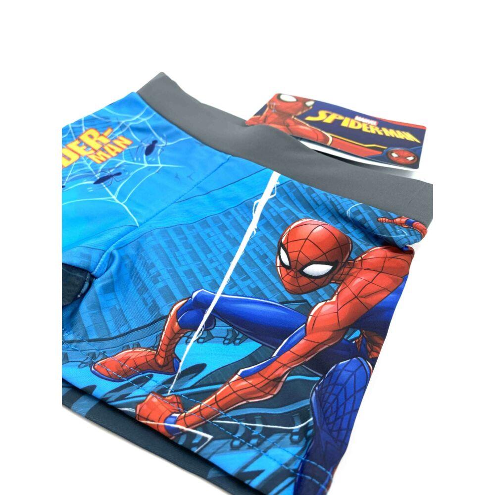 Marvel Pókember mintás kisfiú fürdőnadrág szürke színben. Az úszónadrág dereka gumis, és belül aktív kötős közeli kép.