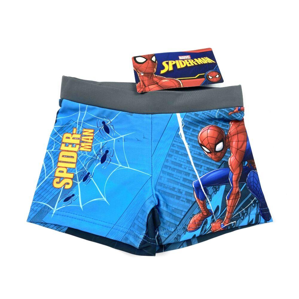 Marvel Pókember mintás kisfiú fürdőnadrág szürke színben. Az úszónadrág dereka gumis, és belül aktív kötős