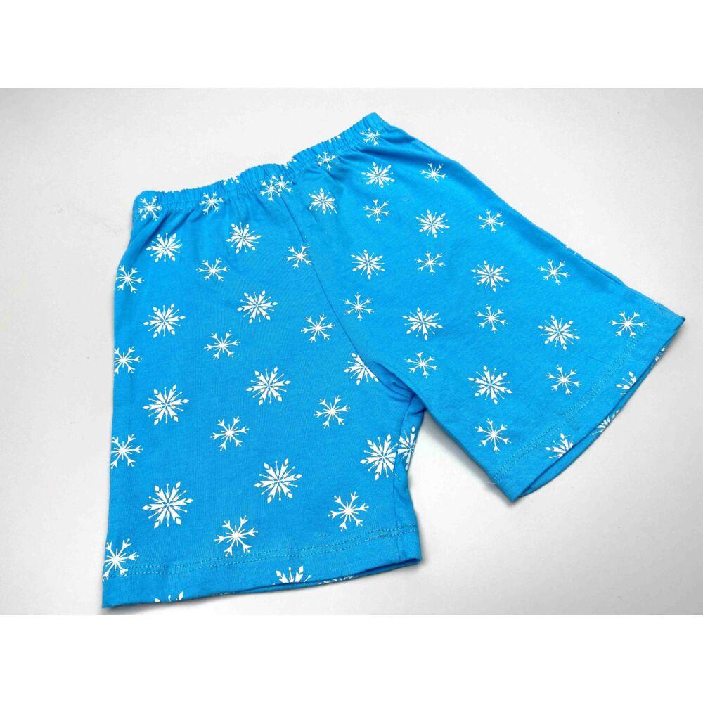 Disney Jégvarázs pamut kislány rövid ujjú nyári pizsama, elején Elsa filmnyomott minta és hópelyhek, kék nadrág.