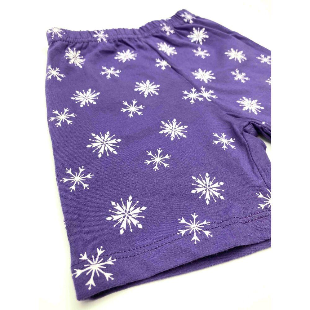 Disney Jégvarázs pamut kislány rövid ujjú nyári pizsama, elején Elsa filmnyomott minta és hópelyhek, lila nadrág.