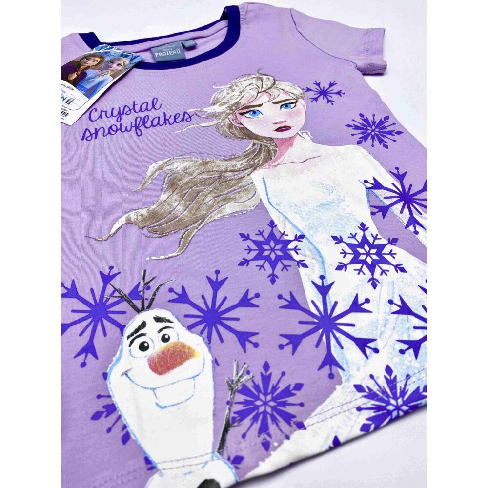Disney Jégvarázs pamut kislány rövid ujjú nyári pizsama, elején Elsa filmnyomott minta és hópelyhek, lila színű felső, közeli kép.