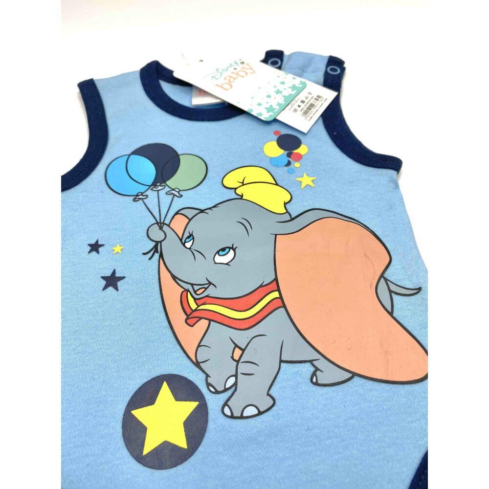 kislány kék Dumbó elefánt mintás ujjatlan nyári body kombidressz közeli