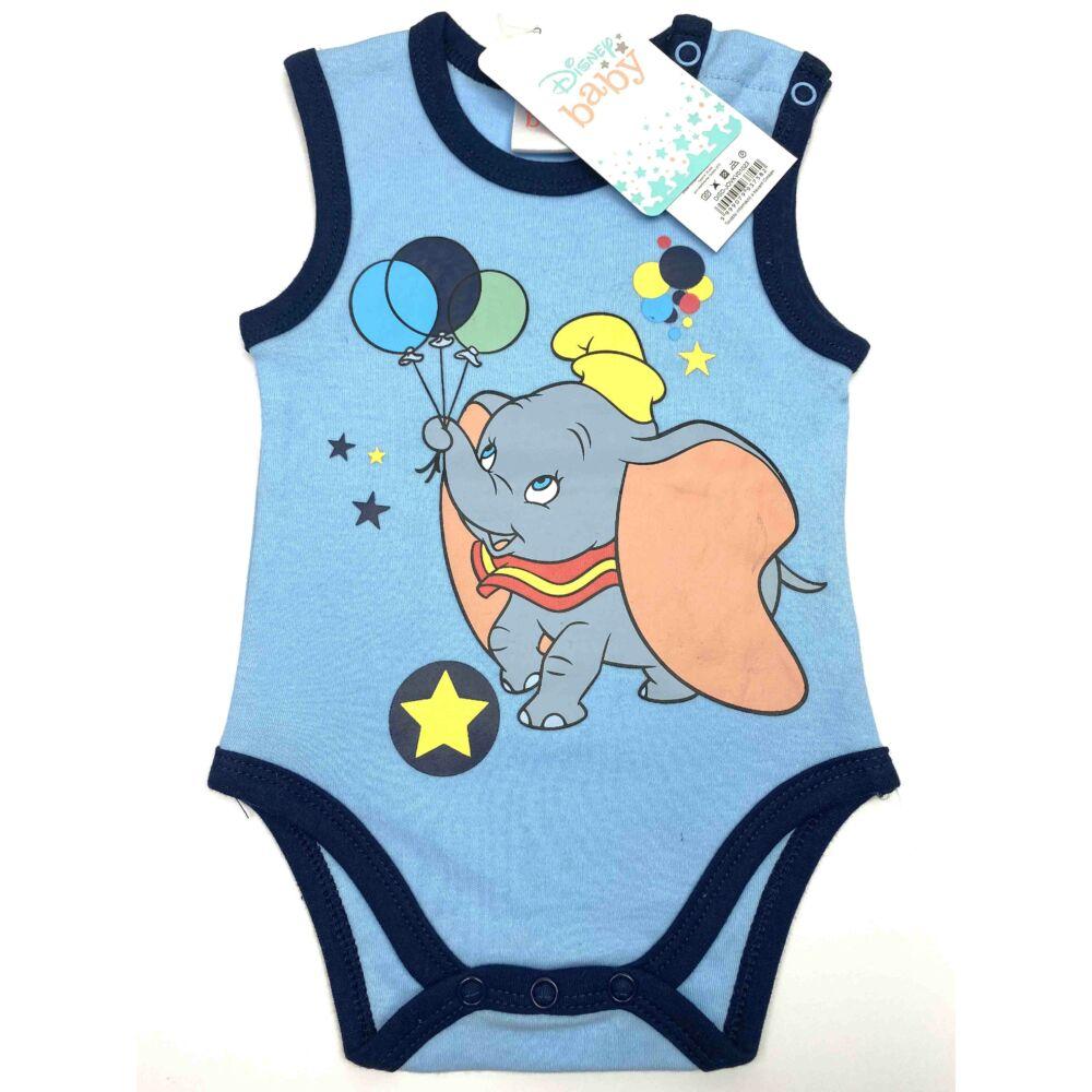 kislány kék Dumbó elefánt mintás ujjatlan nyári body kombidressz