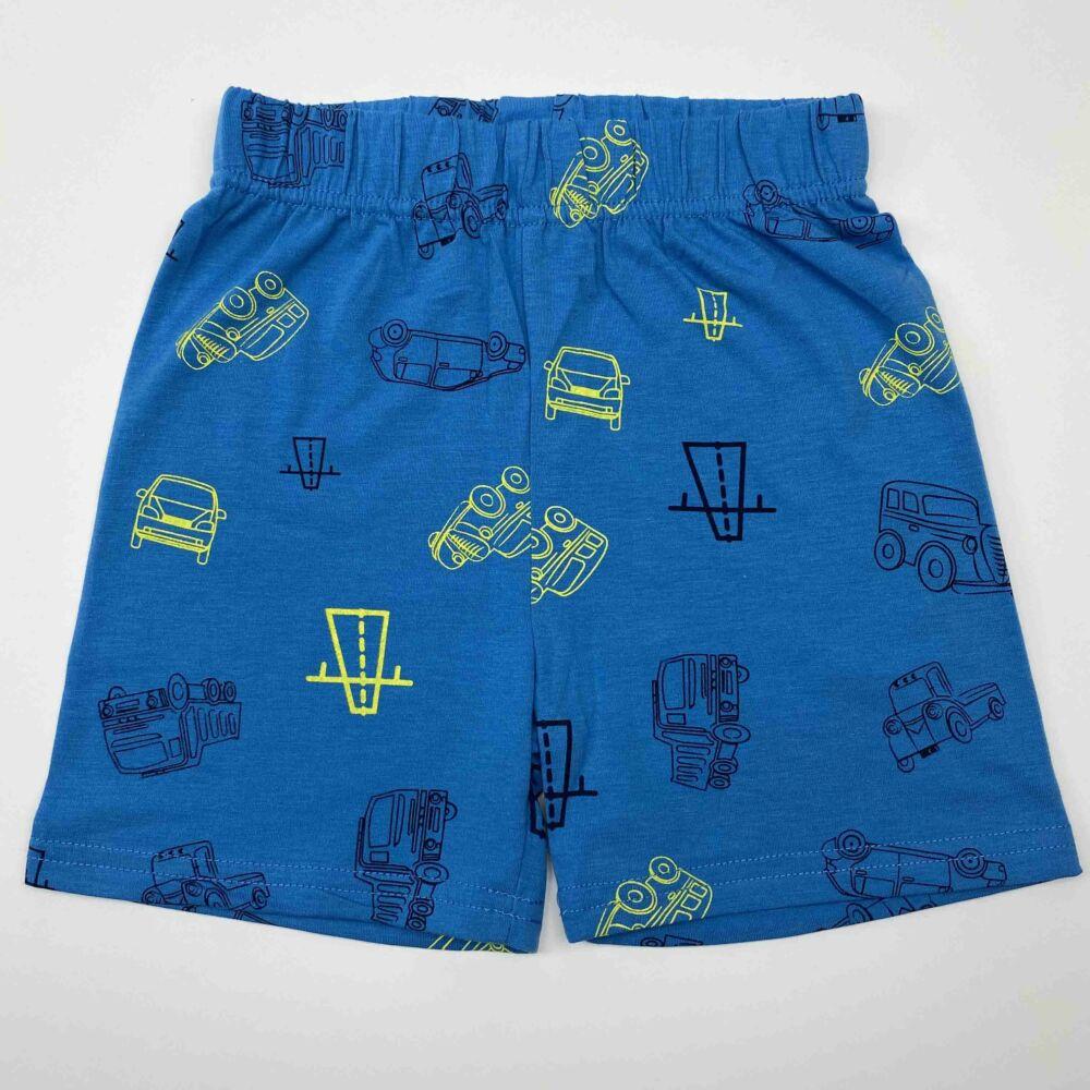 Kisfiú Kisfiú nyári két részes rövid pizsama, kék felső és kék alsó részén is autó mintával, dereka gumis két részes rövid pizsama, fehér felső és kék alsó részén is autó mintával, dereka gumis
