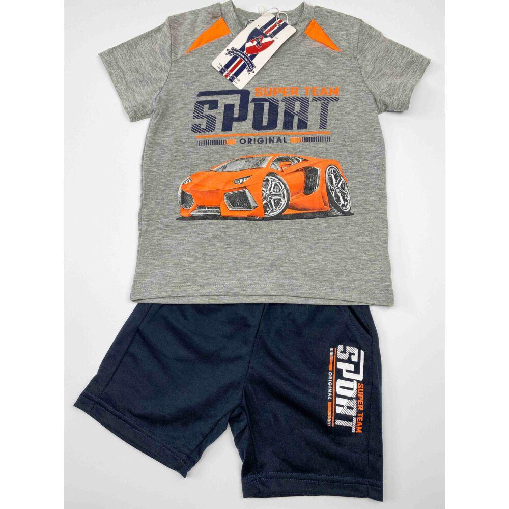 kisfiú két részes nyári szett, filmnyomott autós mintával, narancs színű, elején feliratos, nadrágja zsebes