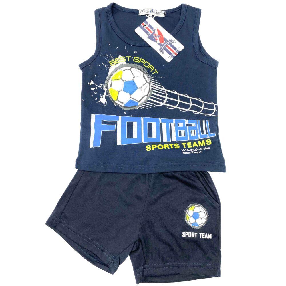 kisfiú két részes nyári szett, filmnyomott labda mintával, kék színű, elején feliratos