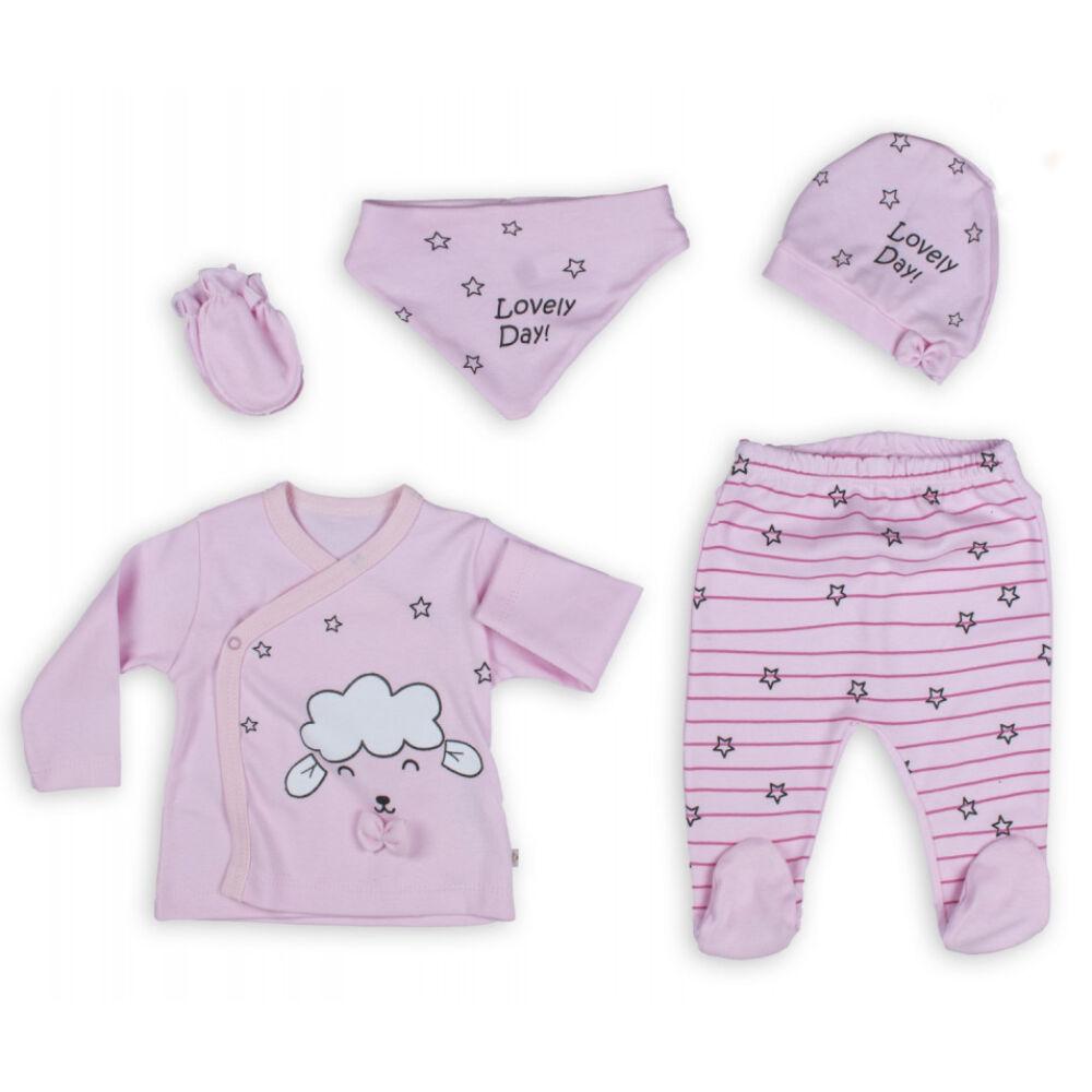 Újszülött 5 részes rózsaszín szett, bárány és csillag mintával