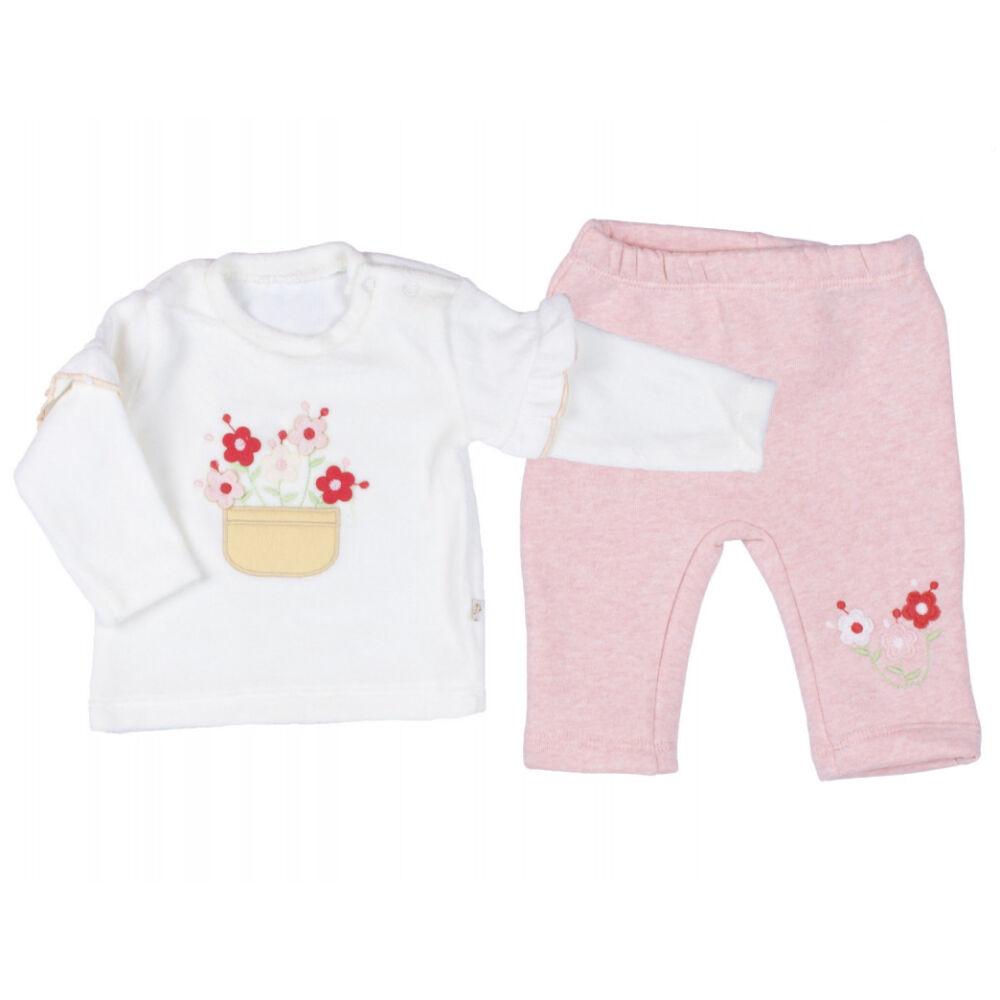 2 részes kislány eleg plüss anyagú szett, nadrágja dereka gumis, felső része fehér, virág minta az elején.