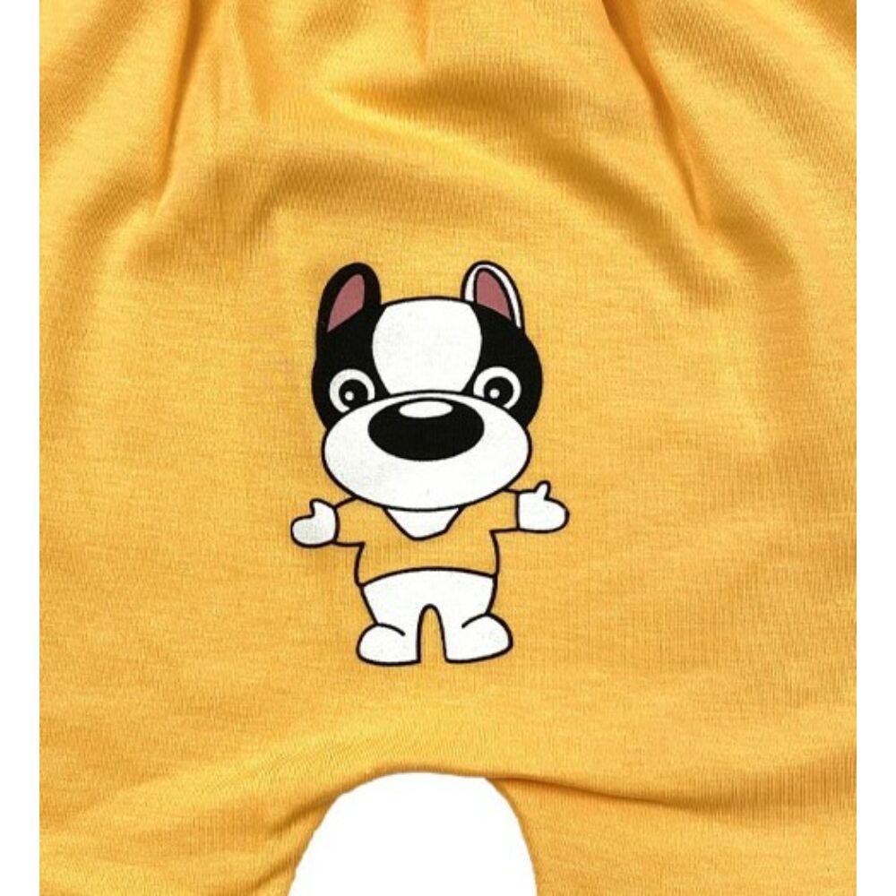 Kisfiú nyári rövidnadrág ülepén aranyos kutya mintával.