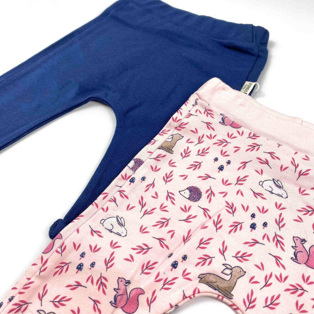 Kislány 2 darabos szett pamut nadrág kék és rózsaszín