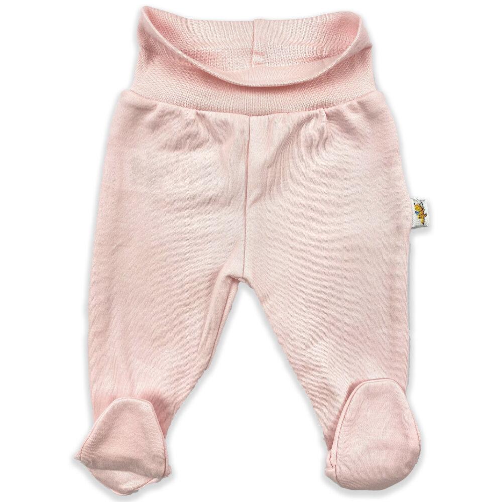 Újszülött rózsaszín pamut nadrág, lehajtható széles derékpánttal, lábfejes kialakítással.