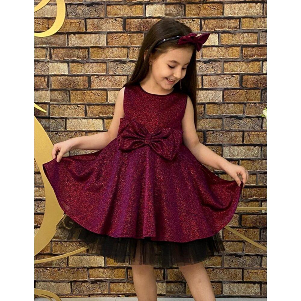 Kislány bordó alkalmi ruha
