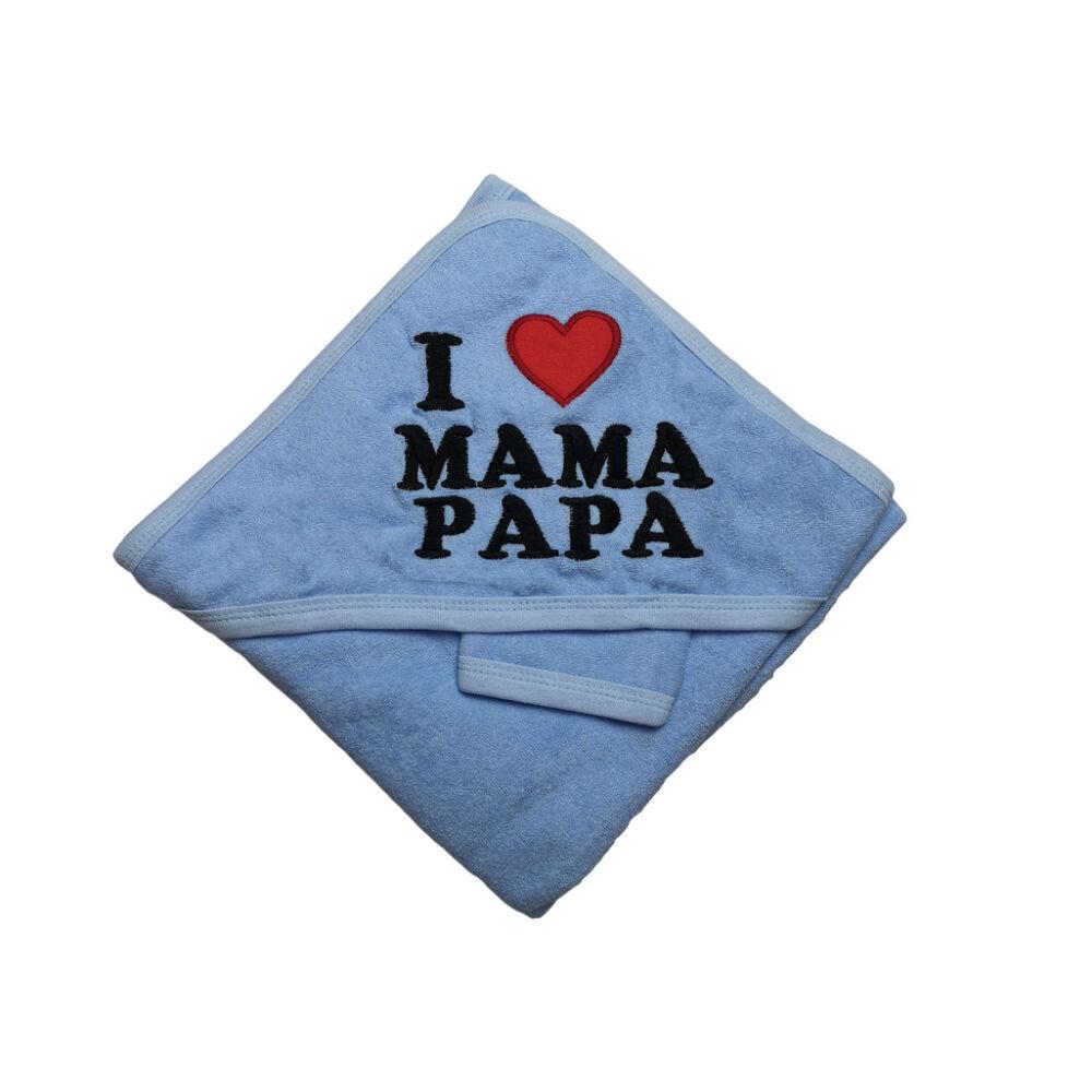 I Love Mama Papa fürdőlepedő (kék)