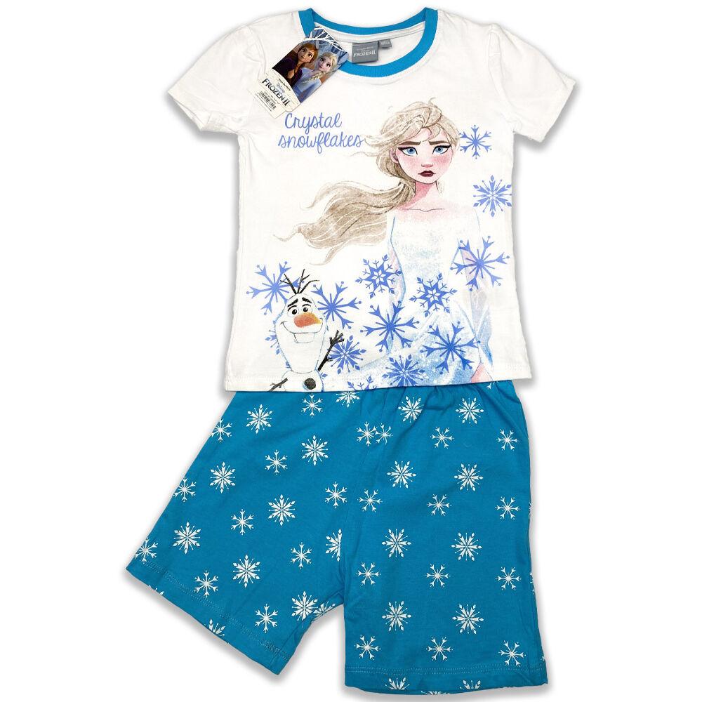 Disney Jégvarázs pamut kislány rövid ujjú nyári pizsama, elején Elsa filmnyomott minta és hópelyhek, fehér és kék színű.