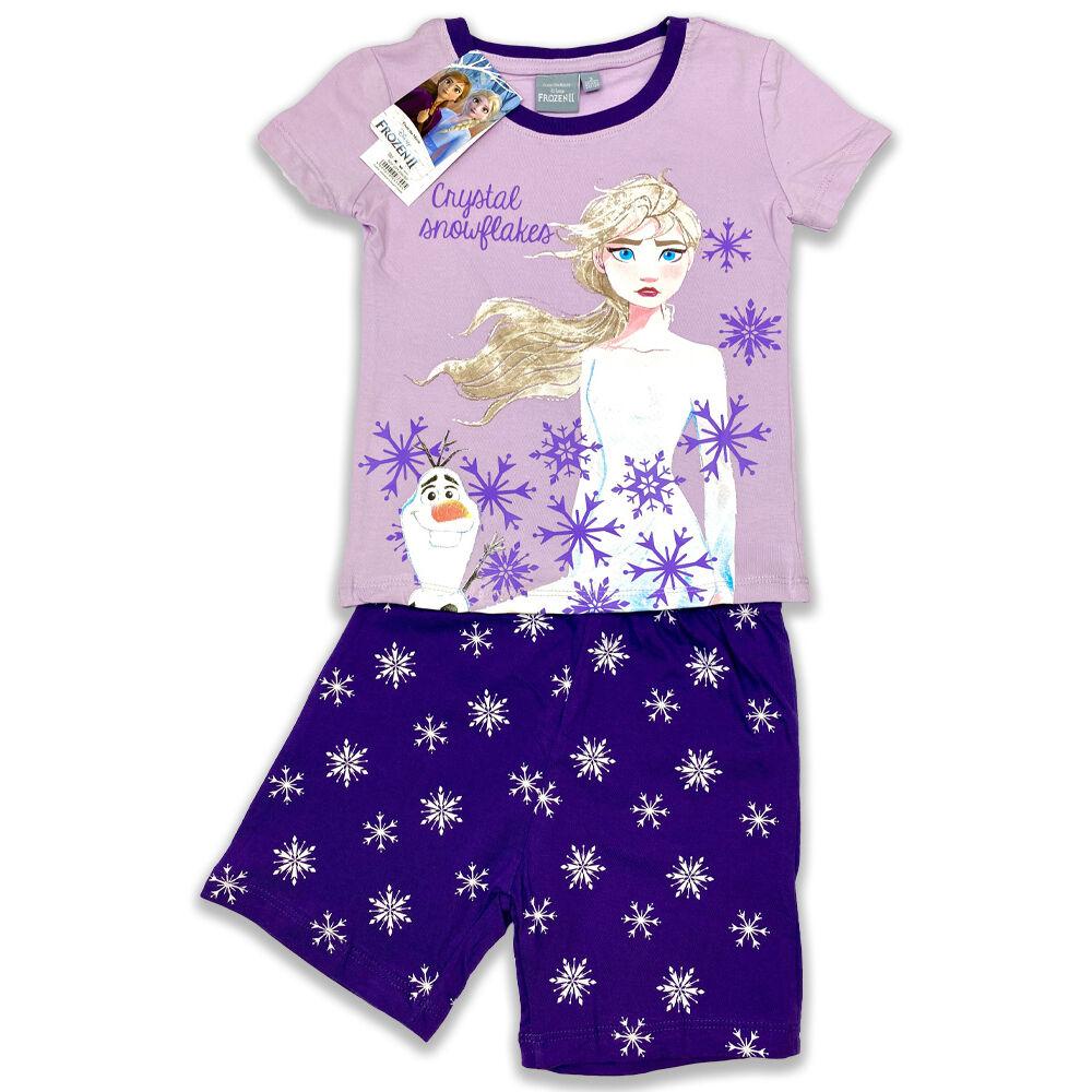 Disney Jégvarázs pamut kislány rövid ujjú nyári pizsama, elején Elsa filmnyomott minta és hópelyhek, lila.